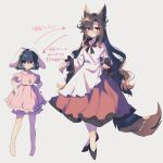 2girls absurdres animal_ears barefoot brown_hair carrot_necklace dress fang fang_out frilled_sleeves frills full_body hands_on_hips haruwaka_064 highres imaizumi_kagerou inaba_tewi long_hair long_sleeves multiple_girls pink_dress puffy_short_sleeves puffy_sleeves rabbit_ears shoes short_hair short_sleeves smile tail touhou translation_request very_long_hair wolf_ears wolf_tail