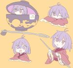 1girl 76gpo antenna_hair blush bowl bowl_hat commentary_request hair_between_eyes hat holding in_bowl in_container japanese_clothes kimono long_sleeves minigirl multiple_views needle one-hour_drawing_challenge one_eye_closed onsen_symbol open_mouth purple_hair red_kimono sewing_needle short_hair simple_background smile sukuna_shinmyoumaru touhou towel upper_body violet_eyes wide_sleeves yellow_background