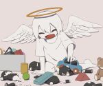 1boy :d absurdres angel angel_wings avogado6 broken colored_skin commentary_request feathered_wings grey_background highres open_mouth original playing simple_background smile solo spread_wings toy toy_car white_hair white_skin white_wings wings