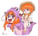 2girls artist_name bag blonde_hair blush_stickers bow braid choker commentary dated diagonal-striped_bow dinosaur_costume earrings english_commentary fangs glasses green_hair handbag hat highres hololive hololive_english horn_bow horn_ornament horns jewelry kiryu_coco kivo multicolored_hair multiple_girls orange_hair pacifier pointy_ears riding sandals skin_fangs streaked_hair sun_hat takanashi_kiara twin_braids two-tone_hair violet_eyes virtual_youtuber