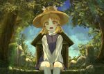 1girl absurdres bangs between_legs blonde_hair blue_sky clouds commentary_request day ekaapetto eyebrows_visible_through_hair feet_out_of_frame hair_ribbon hand_between_legs hat high_collar highres kneehighs light_rays long_sleeves looking_at_viewer moriya_suwako moss open_mouth outdoors parted_bangs purple_skirt purple_vest ribbon rope shide shimenawa shirt short_hair shrine sidelocks sitting skirt sky solo sunbeam sunlight touhou tree v_arms vest white_legwear white_shirt yellow_eyes