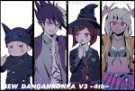 108_(toowa) 2boys 2girls :d :o bangs black_hair black_headwear blush blush_stickers brown_hair brown_vest cigarette collarbone collared_shirt commentary_request copyright_name danganronpa_(series) danganronpa_v3:_killing_harmony double_v dress_shirt eyebrows_visible_through_hair facial_hair finger_to_mouth flat_chest goatee grey_background grey_hair grey_shirt grin hair_ornament hands_up hat highres holding holding_cigarette horned_headwear hoshi_ryouma index_finger_raised jacket leather leather_jacket long_hair long_sleeves looking_at_viewer miniskirt momota_kaito multiple_boys multiple_girls navel open_clothes open_jacket open_mouth open_shirt pants pink_jacket print_shirt red_eyes red_skirt redhead shell_necklace shirt short_hair simple_background skirt smile spiky_hair stomach striped striped_pants two-tone_shirt v vest watermark witch_hat yonaga_angie yumeno_himiko
