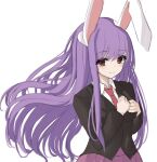 .me 1girl animal_ears bangs black_jacket breasts closed_mouth collared_shirt commentary_request eyebrows_visible_through_hair floating_hair hands_on_own_chest jacket light_blush long_hair long_sleeves looking_at_viewer medium_breasts necktie pleated_skirt purple_hair purple_skirt rabbit_ears red_eyes red_neckwear reisen_udongein_inaba shirt simple_background skirt smile solo suit_jacket touhou upper_body very_long_hair white_background wing_collar