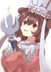 1girl animal_ears blush brown_eyes brown_hair chef_hat commentary_request cosplay dog_ears final_fantasy final_fantasy_ix fork gloves hat highres hololive inugami_korone kusunoki_r long_sleeves quina_quen quina_quen_(cosplay) simple_background solo tongue tongue_out upper_body virtual_youtuber white_background white_gloves