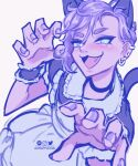 1boy animal_ears apron ashleyloob blue_eyes cat_boy cat_ears cat_tail dress ear_piercing fang frilled_apron frills highres looking_at_viewer maid maid_apron nail_polish original otoko_no_ko paw_pose piercing puffy_sleeves purple_hair solo tail white_apron