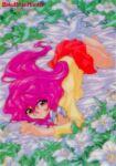 1990s_(style) 1girl bakuretsu_hunters bangs bed_sheet copyright_name eyebrows_visible_through_hair flower gotou_keiji holding holding_eyewear long_hair long_sleeves looking_at_viewer miniskirt nail_polish no_shoes official_art pink_hair pink_nails red_eyes red_skirt retro_artstyle round_eyewear skirt smile solo tira_misu white_legwear
