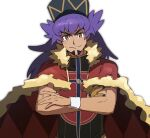 1boy bangs baseball_cap cape champion_uniform closed_mouth commentary_request crossed_arms dark-skinned_male dark_skin eyebrows_visible_through_hair facial_hair fur-trimmed_cape fur_trim gloves hat highres leon_(pokemon) long_hair looking_at_viewer male_focus morio_(poke_orio) pokemon pokemon_(game) pokemon_swsh purple_hair red_cape shield_print shirt short_sleeves simple_background single_glove smile solo sword_print upper_body white_background yellow_eyes