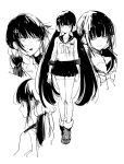 1girl aoki_(fumomo) bangs black_hair blunt_bangs collarbone commentary_request danganronpa_(series) danganronpa_v3:_killing_harmony earrings from_side full_body greyscale hair_ornament hair_scrunchie hairclip harukawa_maki jewelry long_hair long_sleeves looking_at_viewer monochrome multiple_views open_mouth pleated_skirt sailor_collar school_uniform scrunchie serafuku shoes simple_background skirt smile standing thigh-highs watch watch white_background