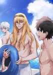 3boys alternate_costume aqua_eyes bangs black_hair black_shorts blonde_hair blue_eyes blue_innertube blue_sky collarbone command_spell commentary_request day ear_piercing eyebrows_visible_through_hair fate/grand_order fate_(series) fujimaru_ritsuka_(male) goggles goggles_on_head hair_between_eyes highres holding holding_innertube innertube kadoc_zemlupus kirschtaria_wodime long_hair looking_at_another male_focus multiple_boys open_mouth outdoors piercing sabamori shirtless short_hair shorts sky smile sunlight sweatdrop teeth water white_hair white_shorts yellow_eyes