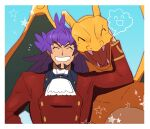 1boy arm_up bangs border buttons charizard closed_eyes cravat dark-skinned_male dark_skin facial_hair fangs gen_1_pokemon grin highres leon_(pokemon) long_hair long_sleeves male_focus morio_(poke_orio) notice_lines open_mouth pokemon pokemon_(creature) pokemon_(game) pokemon_swsh purple_hair smile star_(symbol) tailcoat teeth tongue white_border white_neckwear