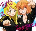 2girls ^_^ arm_up black_jacket blonde_hair blue_background clenched_hand closed_eyes copyright_name grin hand_on_another's_shoulder highres jacket long_hair long_sleeves looking_at_viewer mole mole_under_mouth multiple_girls open_mouth orange_hair sano_emma smile tachibana_hinata_(tokyo_revengers) tokyo_revengers upper_body watta yellow_eyes