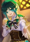 1boy :d alcohol artist_name bangs beer belt beret black_belt blue_hair bodice bow braid cape center_frills collared_shirt commentary cup drinking_glass eyebrows_behind_hair flower frilled_sleeves frills genshin_impact gradient_hair green_cape green_eyes green_hair green_headwear hair_between_eyes hat hat_flower highres holding holding_cup indoors kna_illustrations leaf long_sleeves looking_at_viewer male_focus multicolored_hair open_mouth puffy_long_sleeves puffy_sleeves reaching_out shirt short_hair_with_long_locks sidelocks smile solo standing striped striped_bow twin_braids upper_body upper_teeth venti_(genshin_impact) vision_(genshin_impact) white_shirt window wine_glass