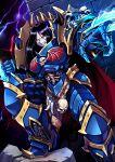 1girl armor black_hair blue_armor bone clawed_gauntlets claws genderswap genderswap_(mtf) highres konrad_curze lightning lightning_claw long_hair looking_at_viewer night ryuusei_(mark_ii) scar scar_on_face skull solo violet_eyes warhammer_40k