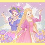 2girls absurdly_long_hair barbie_(character) barbie_(franchise) barbie_as_rapunzel barbie_movies blonde_hair blue_bow blue_dress blue_eyes border bow braid breasts chin_strap dated dress flower flower_hat formal gold_trim gown hand_up hat highres holding holding_paintbrush jewelry large_bow large_hat long_hair long_sleeves magic morning_glory multicolored multicolored_background multiple_braids multiple_girls necklace okitafuji paintbrush pale_skin pink_dress princess puffy_sleeves purple_dress purple_skirt rapunzel rapunzel_(barbie) red_lips skirt sparkle square_neckline transformation very_long_hair victorian white_bow