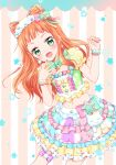 1girl :d aikatsu!_(series) aikatsu_stars! bangs bell blue_nails blush bow bowtie bracelet commentary_request eyebrows_visible_through_hair fang green_eyes hair_bow jewelry long_hair looking_at_viewer midriff multicolored multicolored_clothes multicolored_nails multicolored_shirt multicolored_skirt nail_polish navel neck_bell open_mouth orange_hair red_nails saotome_ako short_sleeves sidelocks skirt smile solo stomach tiramisu651