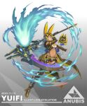 1343978684 1girl animal_ears anubis belt belt_pouch blue_eyes blue_fire chaps clothing_cutout commentary_request dark_skin egyptian_mythology fire full_body goggles goggles_on_head grey_hair grin highres jackal_ears jackal_tail long_hair looking_at_viewer original pouch scythe short_shorts shorts shoulder_cutout smile suspenders