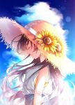 1girl blue_sky blush brown_hair closed_eyes closed_mouth clouds dress flower hat highres long_hair mole original outdoors profile sky sleeveless sleeveless_dress smile solo spide_r_(mxpm3455) straw_hat sun_hat sundress sunflower white_dress yellow_flower