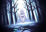 1girl babydoll backlighting bangs bare_shoulders breasts fairy_knight_lancelot_(fate) fate/grand_order fate_(series) forest highres horns jilu long_hair looking_at_viewer nature parted_lips sidelocks sitting small_breasts solo tree violet_eyes wariza white_hair