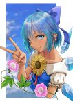 1girl absurdres blue_bow blue_dress blue_eyes blue_hair blush bow cirno clouds collarbone day dress flower hidden_star_in_four_seasons highres ice ice_wings kirie_kairi looking_at_viewer plant puffy_short_sleeves puffy_sleeves short_hair short_sleeves sky smile solo sunflower tan tanned_cirno touhou upper_body v vines wings