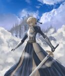 1girl absurdres ahoge architecture armor armored_dress artist_name artoria_pendragon_(all) bangs blonde_hair blue_dress blue_ribbon blue_sky braid braided_bun breastplate castle clouds cloudy_sky dress excalibur_(fate/stay_night) eyes_visible_through_hair fate/stay_night fate_(series) full_body gauntlets hair_between_eyes hair_bun hair_ribbon highres holding holding_sword holding_weapon huge_filesize knight long_sleeves prezonya46 ribbon saber sky solo sword water waves weapon