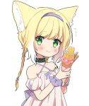 1919_decoy 1girl animal_ears arknights black_collar blonde_hair blush braid collar collarbone commentary criss-cross_halter dress flying_sweatdrops food fox_ears green_eyes hairband halterneck highres holding holding_food ice_cream ice_cream_cone infection_monitor_(arknights) looking_at_viewer multicolored_hair off-shoulder_dress off_shoulder oripathy_lesion_(arknights) pink_dress purple_hairband purple_wristband short_hair_with_long_locks simple_background single_braid smile solo streaked_hair suzuran_(arknights) symbol_commentary white_background white_hair