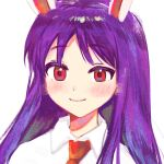 1girl animal_ears bangs blush closed_mouth collar eyebrows_visible_through_hair highres long_hair looking_at_viewer mujiga necktie purple_hair rabbit_ears red_eyes red_neckwear reisen_udongein_inaba shirt short_sleeves simple_background smile solo touhou upper_body white_background white_collar white_shirt white_sleeves
