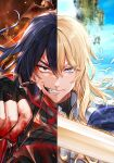 2boys bird black_eyes black_gloves black_hair blonde_hair blood blue_eyes character_request closed_mouth copyright_request dragon fingerless_gloves gloves grin holding holding_sword holding_weapon hwansang_jungdog long_hair looking_at_viewer male_focus multiple_boys official_art runes shiny shiny_hair smile split_theme sword upper_body veins weapon