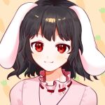 1girl animal_ears bangs black_hair blush closed_mouth dress eyebrows_visible_through_hair highres inaba_tewi looking_at_viewer mujiga orange_background pink_dress pink_sleeves rabbit_ears red_eyes short_hair short_sleeves simple_background smile solo touhou upper_body