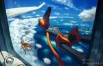 above_clouds aircraft airplane building clouds commentary_request day deoxys deoxys_(attack) deoxys_(defense) deoxys_(speed) flying gen_3_pokemon glass glint guodon mythical_pokemon pokemon pokemon_(creature) pokemon_duel shiny sky translation_request window