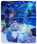2boys arm_support ash_ketchum bangs barefoot berry_(pokemon) black_hair black_shirt brown_hair closed_eyes closed_mouth clouds facepaint gen_1_pokemon gen_8_pokemon highres koko_(pokemon) light_beam looking_at_another lying male_focus mei_(maysroom) multiple_boys night on_back open_mouth oran_berry pikachu pillow pokemon pokemon_(anime) pokemon_(creature) pokemon_m23 shirt short_hair short_sleeves shorts sitting skwovet sky sleeping smile t-shirt toes tongue twitter_username
