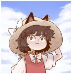 1girl :3 animal_ears blue_sky bow bowtie brown_hair cat_ears cat_girl chen clouds cloudy_sky commentary dress earrings eyebrows_visible_through_hair hat hat_bow jewelry looking_at_viewer nekomata outdoors poronegi red_dress short_hair short_sleeves single_earring sky solo sun_hat touhou white_bow
