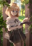 1girl ardenlolo bag bangs bare_shoulders black_skirt blonde_hair blue_eyes blurry blurry_background blush breasts brown_legwear cellphone closed_mouth collarbone commentary cowboy_shot day depth_of_field earrings eyebrows_visible_through_hair handbag heart heart_earrings high-waist_skirt holding holding_phone holding_pipe hololive hololive_english jewelry leaf light_particles looking_at_phone medium_breasts nail_polish off-shoulder_shirt off_shoulder pantyhose phone pipe shirt short_hair short_sleeves skirt smartphone solo standing tree virtual_youtuber watson_amelia white_shirt yellow_nails zipper zipper_skirt