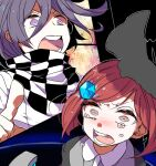 1boy 1girl bangs black_background black_headwear black_jacket black_scarf blush checkered checkered_scarf collared_shirt commentary_request danganronpa_(series) danganronpa_v3:_killing_harmony gem grey_shirt hair_ornament hairclip hat jacket jian_jing looking_at_viewer multicolored multicolored_clothes multicolored_scarf open_mouth ouma_kokichi pointing purple_hair redhead scarf shiny shiny_hair shirt short_hair straitjacket tears teeth violet_eyes white_scarf white_shirt witch_hat yumeno_himiko