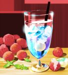 berry chai cup drink drinking_glass drinking_straw food food_focus fruit highres ice ice_cube indoors no_humans original raspberry shadow table