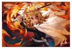 1boy absurdres artist_name belt black_jacket black_pants blonde_hair blood blood_from_mouth blood_on_face border cape cowboy_shot deacon_yuan embers fighting_stance fire forehead highres holding holding_sword holding_weapon huge_filesize jacket katana kimetsu_no_yaiba long_hair long_sleeves looking_at_viewer male_focus multicolored_hair one_eye_closed open_mouth pants red_eyes redhead rengoku_kyoujurou scabbard sheath smile solo standing sword thick_eyebrows two-tone_hair uniform v-shaped_eyebrows weapon white_belt white_border white_cape