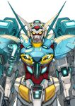 clenched_hands g-self gundam gundam_g_no_reconguista highres looking_at_viewer mecha mobile_suit no_humans science_fiction solo upper_body white_background yasuda_akira yellow_eyes