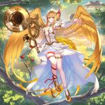 1girl angel_wings armpits artist_request bare_shoulders blonde_hair breasts clouds commentary_request day detached_sleeves double_bun dress feathered_wings flying full_body golden_wings gullinkambi hair_between_eyes high_heels holding looking_at_viewer medium_breasts navel official_art outdoors red_eyes solo thigh_strap tree valkyrie_connect wings
