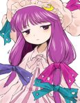 1girl blue_ribbon blush collar crescent crescent_hat_ornament crescent_pin dated_commentary eyebrows_visible_through_hair hair_ribbon hat hat_ornament hat_ribbon hayakumo_(okura_oishiiii) jitome long_hair looking_at_viewer mob_cap patchouli_knowledge pink_ribbon purple_hair purple_ribbon ribbon signature simple_background solo touhou upper_body violet_eyes watermark white_background