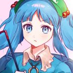 1girl bangs blue_dress blue_eyes blue_hair blue_sleeves blush closed_mouth collar dress eyebrows_visible_through_hair green_headwear hand_up hat highres holding kawashiro_nitori key key_necklace light long_hair looking_at_viewer mujiga pink_background short_sleeves simple_background solo touhou twintails upper_body white_collar