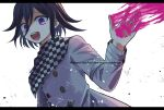 108_(toowa) 1boy :d bangs buttons checkered checkered_scarf danganronpa_(series) danganronpa_v3:_killing_harmony grey_background grey_jacket hair_between_eyes highres jacket letterboxed long_sleeves looking_at_viewer male_focus open_mouth ouma_kokichi pink_blood scarf short_hair simple_background smile solo straitjacket teeth twitter_username upper_body upper_teeth violet_eyes white_background