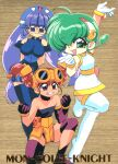 1990s_(style) 3girls arm_up asymmetrical_gloves bangs batch_(rokumon_tengai_mon_colle_knight) boots braid breasts choker clenched_hands copyright_name dress eyebrows_visible_through_hair gloves gluko goggles goggles_on_head green_eyes grin headdress hiiragi_rokuna large_breasts long_hair multiple_girls official_art one_eye_closed open_mouth red_eyes retro_artstyle rimless_eyewear rokumon_tengai_mon_colle_knight round_eyewear short_dress short_hair sleeveless sleeveless_dress smile thigh-highs thigh_boots twin_braids twintails very_long_hair violet_eyes