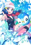 1girl :d absurdres beanie black_legwear blue_eyes blue_hair blurry blush boots clenched_hand commentary dawn_(pokemon) eyelashes floating_hair floating_scarf gen_4_pokemon hair_ornament hairclip hat highres long_hair looking_at_viewer open_mouth pink_footwear piplup pointing pokemon pokemon_(anime) pokemon_(creature) pokemon_dppt_(anime) pon_yui red_scarf scarf shiny shiny_skin sleeveless smile socks starter_pokemon tongue upper_teeth water water_drop white_headwear