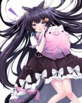 ! 1girl absurdres animal_ear_fluff animal_ears bangs black_hair black_skirt blush bow cat_ears cat_girl cat_hair_ornament cat_tail collared_shirt commentary crossed_bandaids eyebrows_visible_through_hair fang hair_ornament hair_ribbon highres knife long_hair looking_at_viewer open_mouth pink_bow pleated_skirt red_eyes reikira reikira!_(channel) retorillo ribbon shirt short_sleeves simple_background skirt solo stuffed_animal stuffed_pig stuffed_toy stuffing tail tail_bow tail_ornament very_long_hair virtual_youtuber white_background white_bow white_ribbon white_shirt