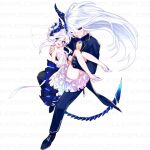 1boy 1girl black_sclera blue_eyes colored_sclera dress ejami gloves high_heels horns long_hair looking_at_viewer open_mouth original panties sample simple_background single_glove smile underwear white_background white_hair