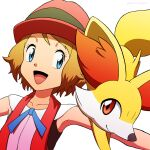 1girl :d bangs bare_arms blonde_hair blue_eyes blue_ribbon collarbone commentary_request eyelashes fennekin gen_6_pokemon hat highres kuroki_shigewo looking_to_the_side neck_ribbon open_mouth outstretched_arms pokemon pokemon_(anime) pokemon_(creature) pokemon_xy_(anime) ribbon serena_(pokemon) short_hair simple_background sleeveless smile starter_pokemon tongue white_background
