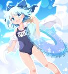 1girl :d ahoge bangs blue_bow blue_eyes blue_hair blue_swimsuit bow breasts cirno collarbone commentary_request do_(4-rt) eyebrows_visible_through_hair fang hair_bow hat highres innertube jacket looking_at_viewer name_tag off_shoulder open_mouth school_swimsuit short_hair single_bare_shoulder small_breasts smile solo sun_hat swimsuit tan tanned_cirno touhou white_jacket