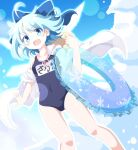 1girl :d ahoge bangs blue_bow blue_eyes blue_hair blue_swimsuit bow breasts cirno collarbone commentary_request do_(4-rt) eyebrows_visible_through_hair fang hair_bow hat highres innertube jacket looking_at_viewer name_tag off_shoulder open_mouth school_swimsuit short_hair single_bare_shoulder small_breasts smile solo sun_hat swimsuit touhou white_jacket