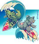 absurdres gameplay_mechanics gen_1_pokemon gen_2_pokemon highres no_humans pokemon pokemon_(creature) rhydon surf_(pokemon) surfboard surfing taplaos twitter_username tyranitar water