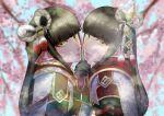 2girls black_hair blush gloves hinoa holding_hands japanese_clothes kimono long_hair minoto monster_hunter monster_hunter_(series) monster_hunter_rise pointy_ears siblings spica_hakase twins