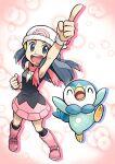 1girl :d arm_up black_legwear boots bracelet clenched_hand commentary_request dawn_(pokemon) eyelashes floating_hair full_body gen_4_pokemon grey_eyes index_finger_raised jewelry kneehighs knees long_hair mabu_(dorisuto) open_mouth pink_footwear pink_scarf piplup pokemon pokemon_(anime) pokemon_(creature) pokemon_swsh_(anime) scarf sleeveless smile standing starter_pokemon tongue upper_teeth